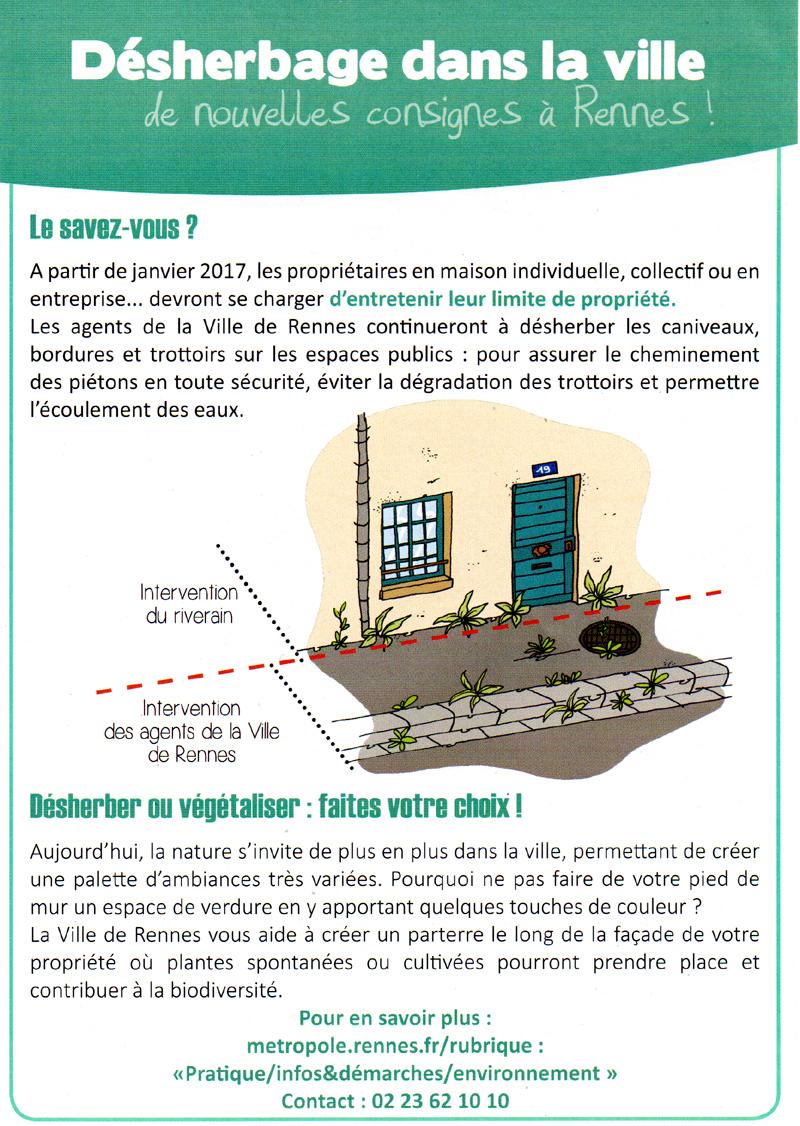 Désherbage dans la ville de Rennes